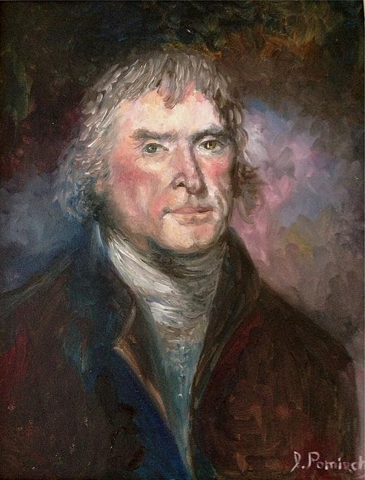 Thomas Jefferson Print by Irene Pomirchy