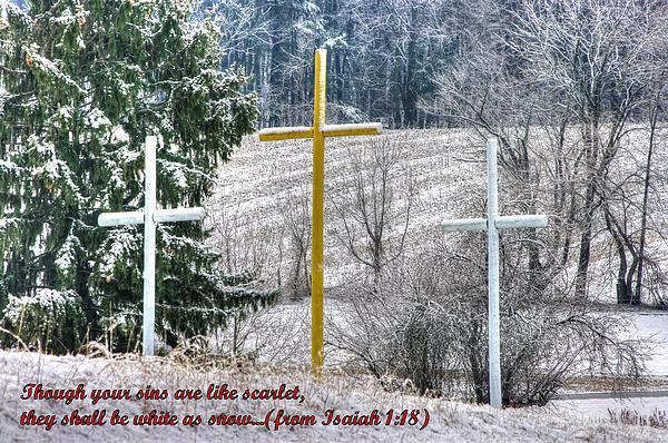Though Your Sins Are Like Scarlet - They Shall Be White As Snow - From Isaiah 1.18 Print by Michael Mazaika