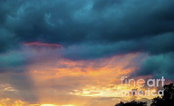 Threatening Skies At Sunset Print by Optical Playground By MP Ray
