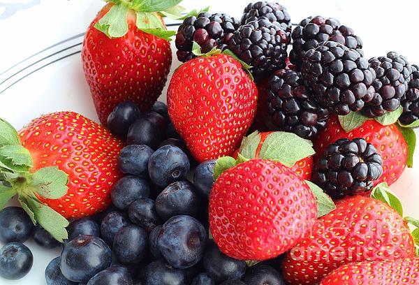 Three Fruit - Strawberries - Blueberries - Blackberries Print by Barbara Griffin