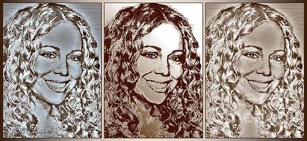 Three Interpretations Of Mariah Carey Print by J McCombie