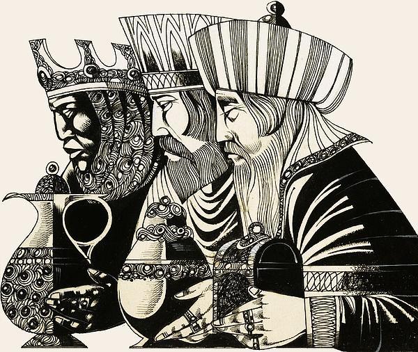 Three Kings Print by Richard Hook
