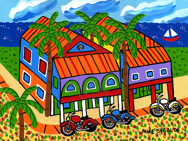 Three Motorcycles At Cedar Key Print by Mike Segal