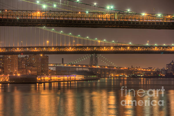 Three New York Bridges Print by Clarence Holmes