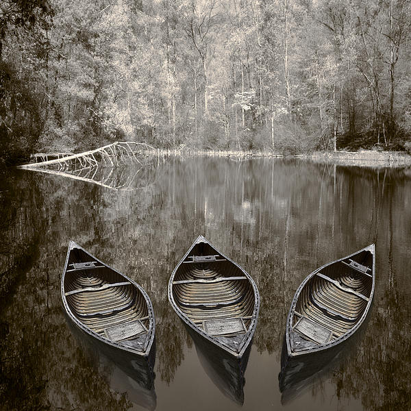 Three Old Canoes Print by Debra and Dave Vanderlaan
