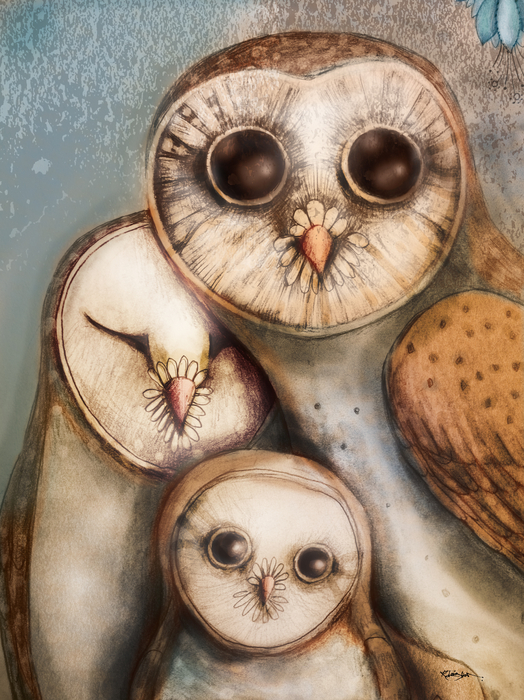 Three Wise Owls Print by Karin Taylor