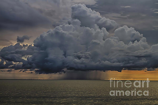 Thunder Storm Cloud Over The Gulf Of Mexico Print by Robert Wirth