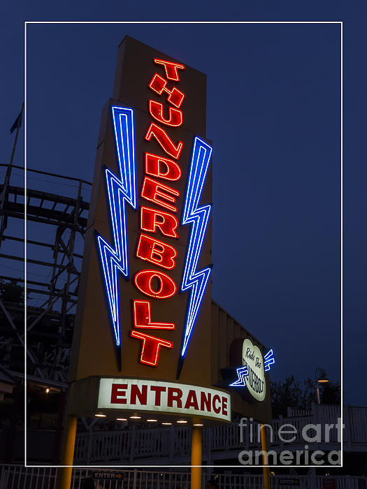 Thunderbolt Rollercoaster Neon Sign Print by Edward Fielding