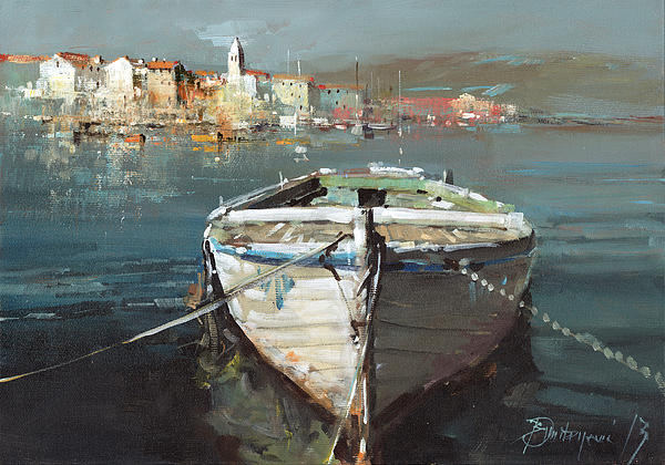 Tied Boat By The City Print by Branko Dimitrijevic