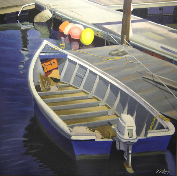 Tied Up At The Dock 1 Print by JJ Long