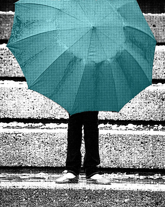 Tiffany Blue Umbrella Print by Lisa Knechtel