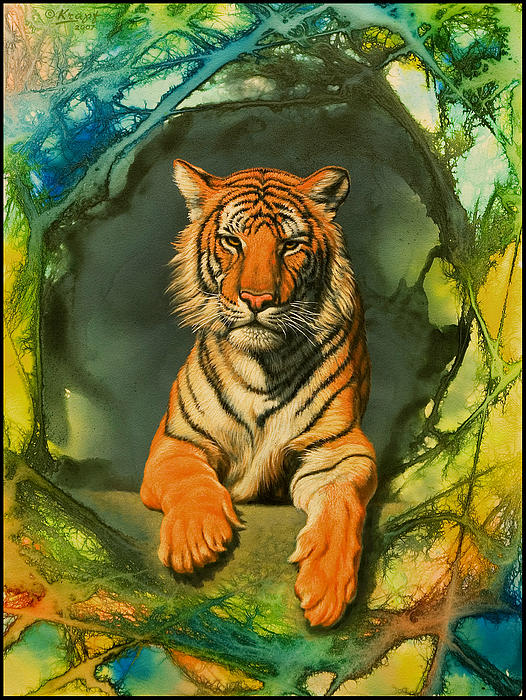 Tiger In Abstract Print by Paul Krapf