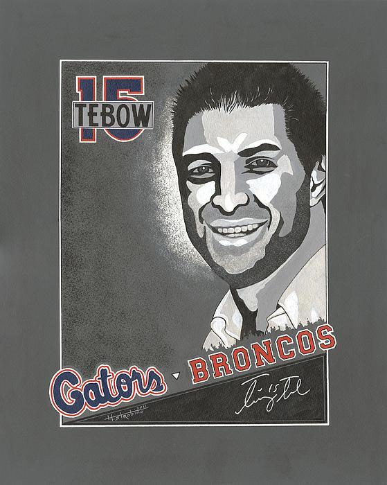 Tim Tebow Portrait Print by Herb Strobino