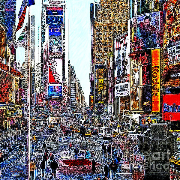 Time Square New York 20130503v8 Square Print by Wingsdomain Art and Photography