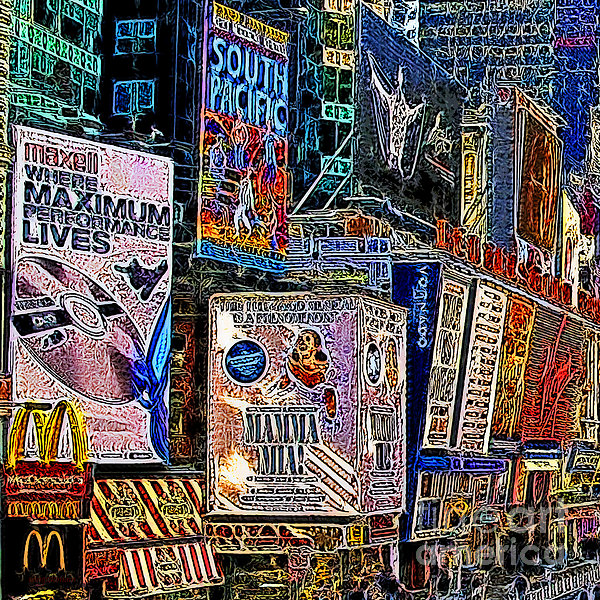 Time Square New York 20130503v9 Square Print by Wingsdomain Art and Photography