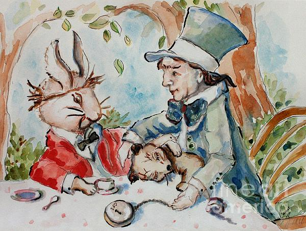 Time The Mad Tea Party 2 Print by Carrie Joy Byrnes