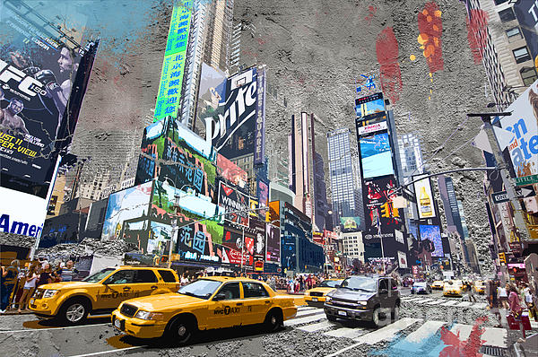 Times Square Street Creation Print by Delphimages Photo Creations