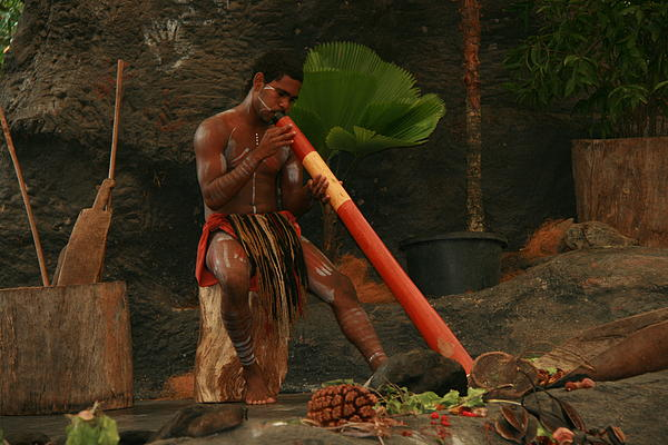 Tjapukai Playing The Didgeridoo Print by Cecelia Helwig