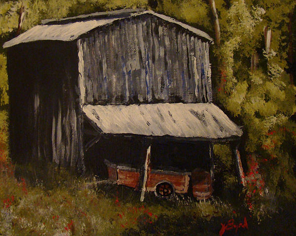 Joe Byrd - Tobacco Barn with wagon