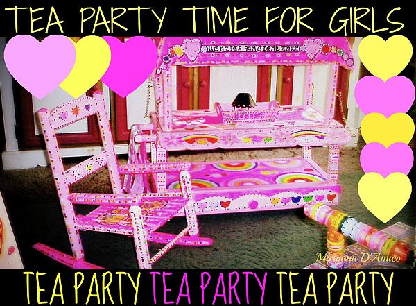 Toddler Tea And Art Cart/table And Magical Rocking Chair Print by Maryann  DAmico
