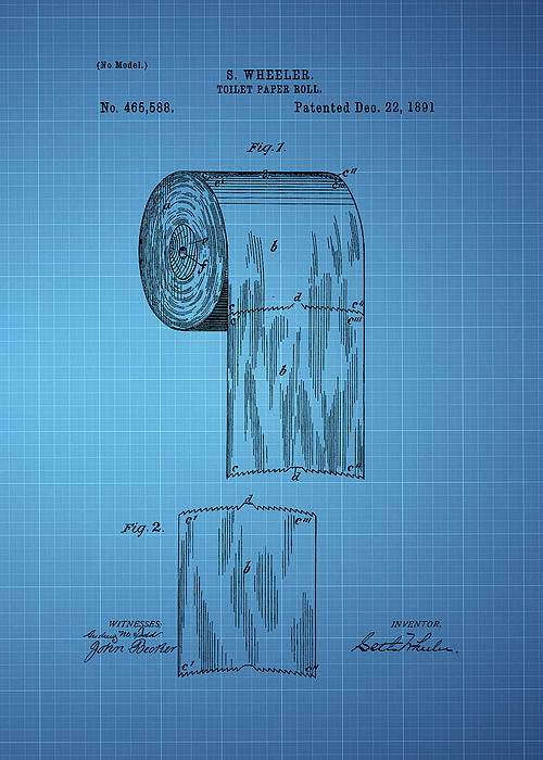 Toilet Paper Roll Patent 1891 Blue By Chris Smith