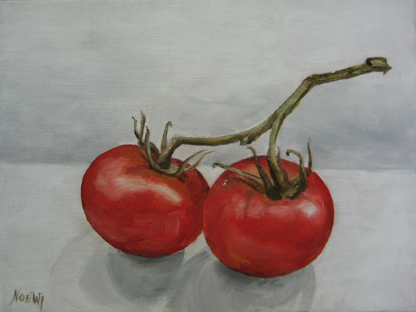 Tomatoes On Vine Print by Jindra Noewi