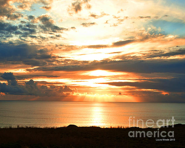 Tomorrow Is A New Day- Beach At Sunset Print by Artist and Photographer Laura Wrede