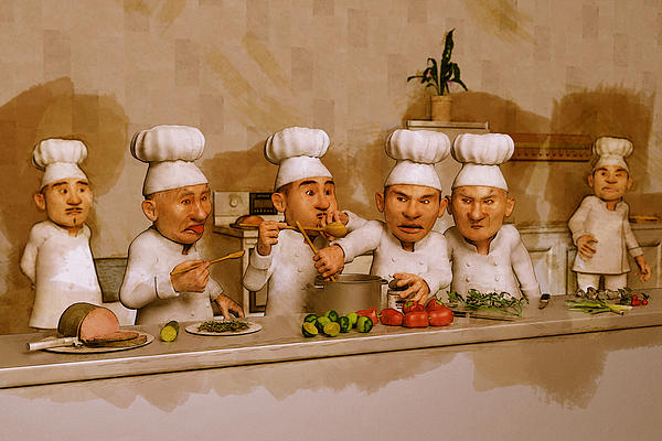 Too Many Cooks Spoil The Broth Print by Liam Liberty