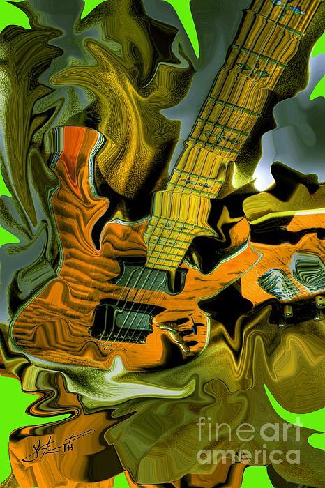 Too Much Vibrations Digital Guitar Art By Steven Langston Print by Steven Lebron Langston