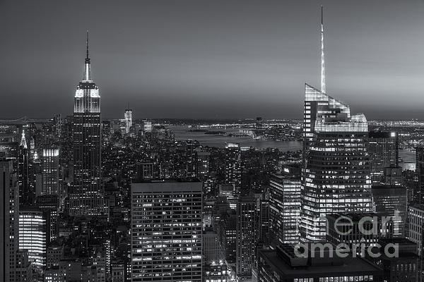Top Of The Rock Twilight V Print by Clarence Holmes