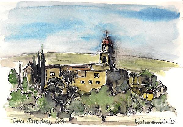 Toplou Monastery Print by Kostas Koutsoukanidis
