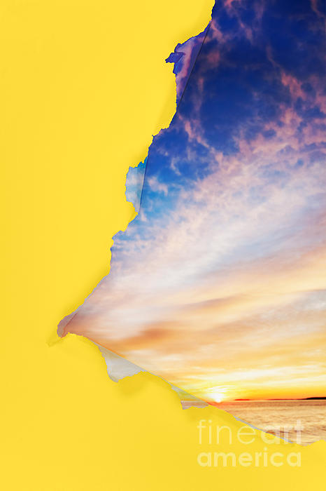 Torn Paper Sunrise Print by Jo Ann Snover