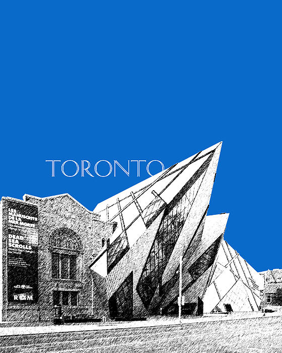 Toronto Skyline Royal Ontario Museum - Blue Print by DB Artist