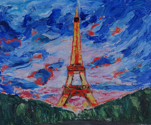 Agnieszka Praxmayer - Tour Eiffel jaune et les nuages.