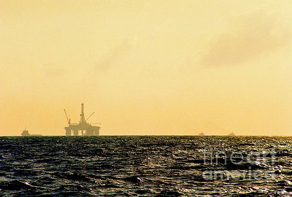 Towing A Platform In The Gulf Of Mexico Off The Coast Of Louisiana Print by Michael Hoard