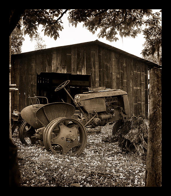 Tractor And Barn Print by Linda Olsen