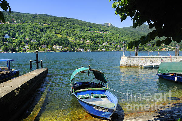 Traditional Lucia Fishing Boat On Lake Maggiore Print by Brenda Kean
