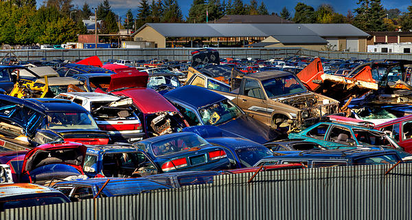 Traffic Jam - Ferrell's Auto Wrecking Print by David Patterson