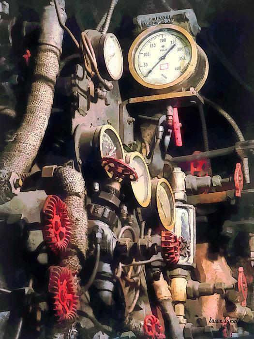 Trains - Inside Cab Of Steam Locomotive Print by Susan Savad