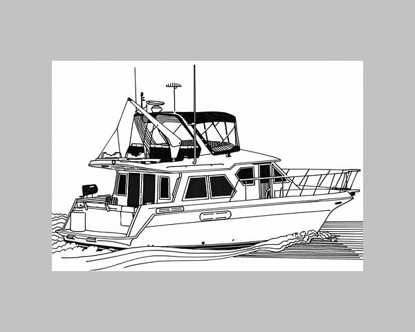 Trawler Yacht Print by Jack Pumphrey