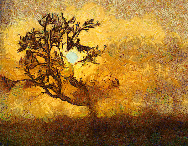 Tree At Sunset - Digital Painting In Van Gogh Style With Warm Orange And Brown Colors Print by Matthias Hauser