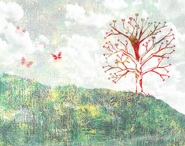 Tree Of Love Print by Aged Pixel