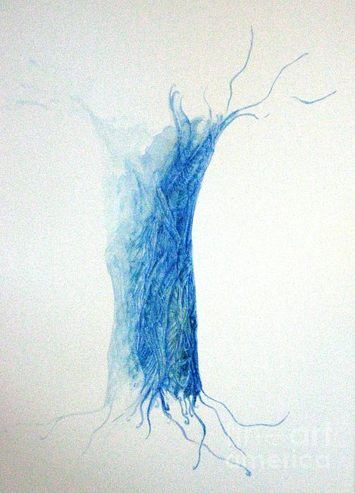 Tree Weaving In Blue Print by Laura Hamill