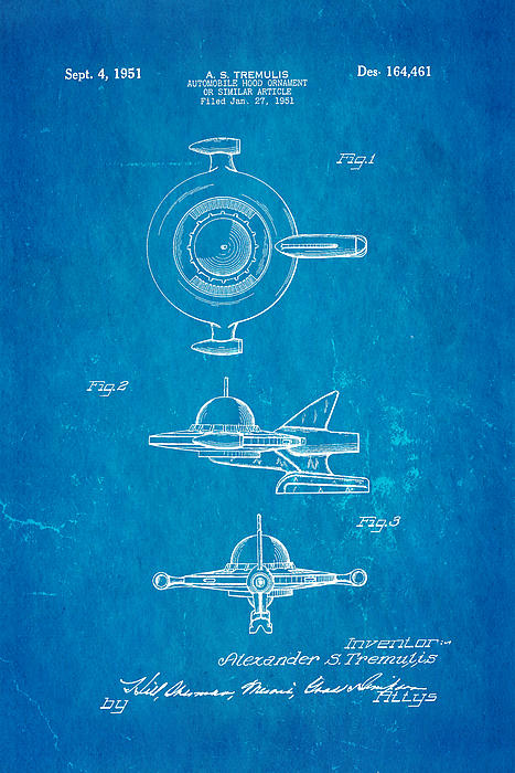 Tremulis Spaceship Hood Ornament Patent Art 1951 Blueprint Print by Ian Monk