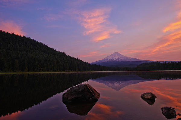 Trillium Lake Sunrise Print by Dan Mihai