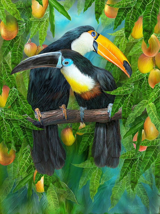 Tropic Spirits - Toucans Print by Carol Cavalaris