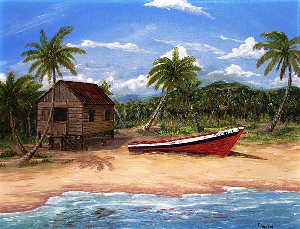 Tropical Beach Huts: Tropical Beach Hut Print By Frank Anatol