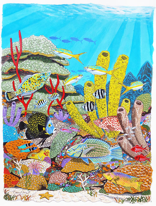 Tropical Reef Print by Carey Chen