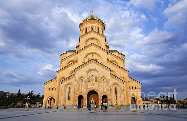 Tsminda Sameba Cathedral Tbilisi Print by Robert Preston