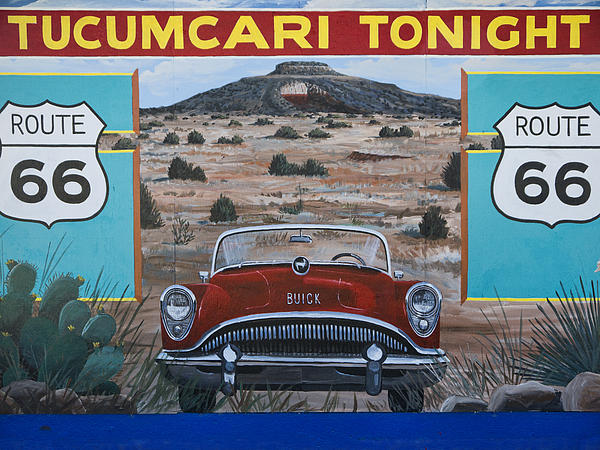 Tucumcari Tonight Mural On Route 66 Print by Carol Leigh